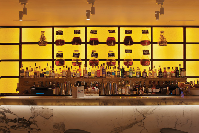 The main bar has been created from a solid piece of marble