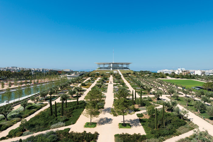 The Stavros Niarchos Foundation Cultural Centre sits on an artificial hill at the sea end of the site. Image Credit: SNFCC / Yiorgis Yerolymbos