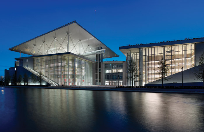 The image show the Stavros Niarchos Foundation Cultural Centre, designed by Renzo Piano and opened in 2016. Image Credit: SNFCC / Yiorgis Yerolymbos