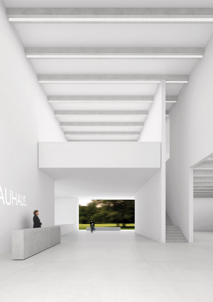 The foyer of the new Bauhaus Museum Weimar, designed by Heike Hanada with Benedict Tonon. Image Credit: Klassik Stiftung Weimar