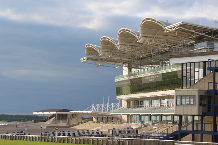 Newmarket's Rowley Mile Millennium grandstand, 1983, designed by Mieczyslaw Bienkowski. The stand was renovated in 2016, the year of the 350th anniversary of the course