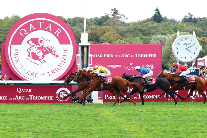 Jockey Frankie Dettori wins at ParisLongChamp