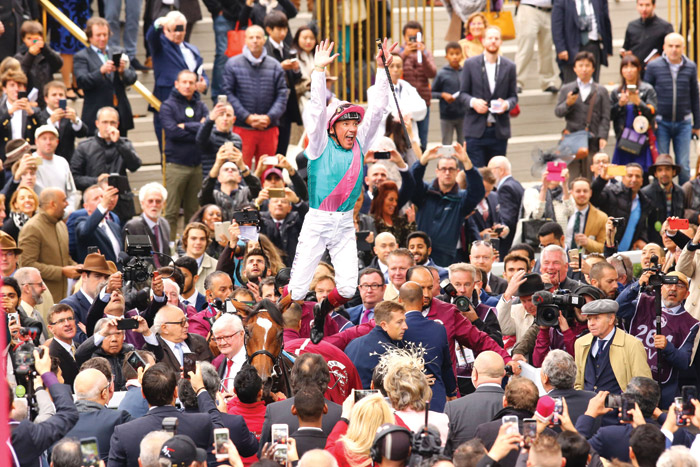Jockey Frankie Dettori wins at ParisLongChamp