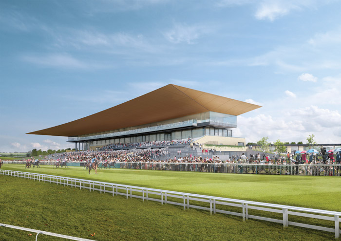 The Curraugh, on the Curragh plain in County Kildare, Ireland, features a new canopied grandstand designed by Grimshaw and Newenham Mulligan