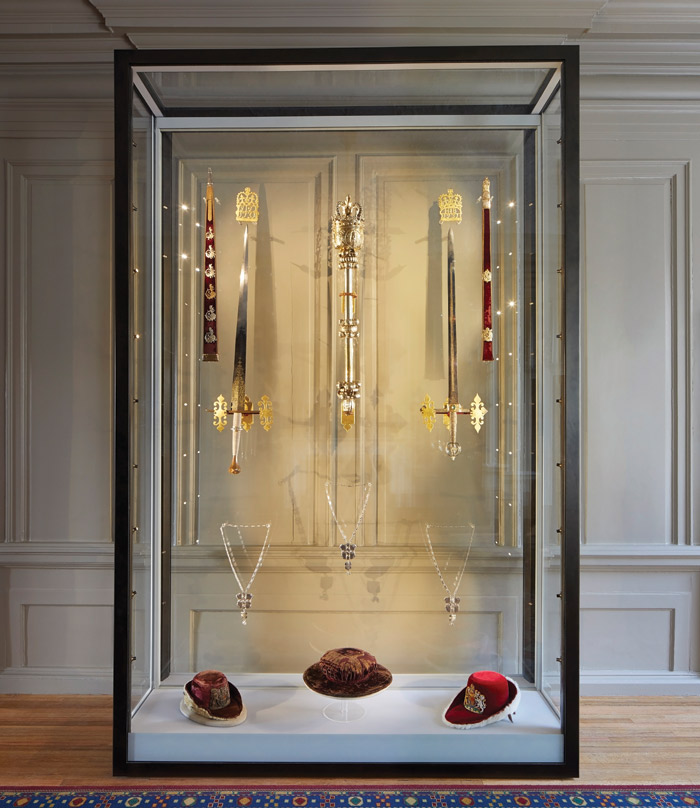 The Mansion House's collection of ceremonial gold and silver is displayed and two ceremonial swords and the Mayor's Mace are wall hung inside their own cabinet