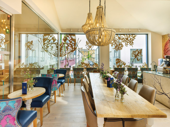 The wellness centre has its own brasserie, with both communal and individual seating