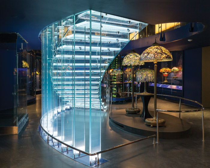 Tiffany lamps and a technically daring glass staircase for the Tiffany Galleryat the New York Historical Society Museum & Library (2017)