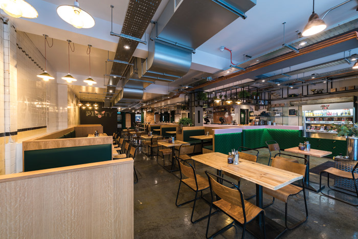 The interior concept for Pigsty by Phoenix Wharf mixed town and country