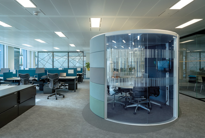Freestanding meeting pods add to the variety of meeting spaces provided