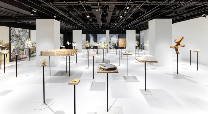 The exhibition space, with the Japan House London's inaugural show of work by Sou Fujimoto