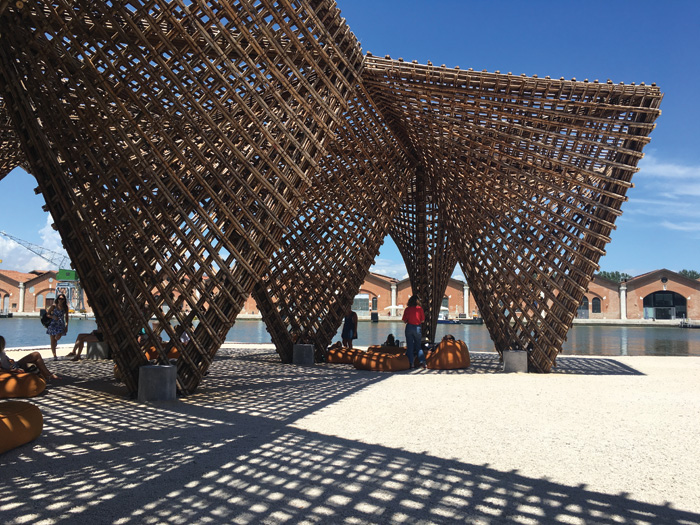 A welcome bit of shade comes in the shape of an asymmetric pavilion in bamboo, from Vietnam's VTN Architects