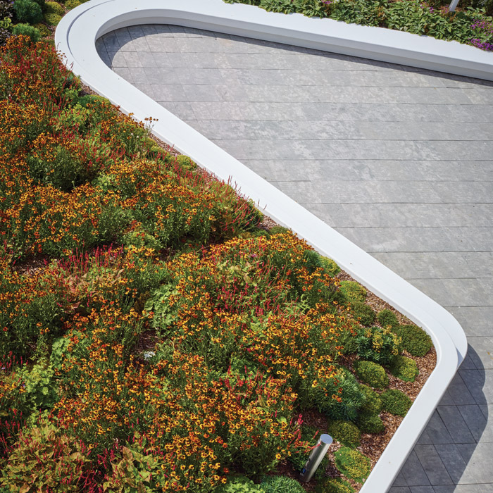 A snaking seat in Corian edges the planting on the roof terrace