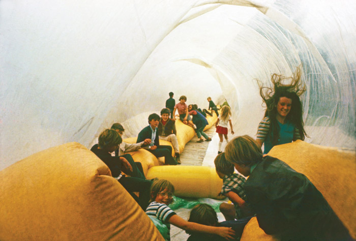 Children play in Eventstructure Research Group's Pneutube (1968), as installed in 1969 in Frederiksplein