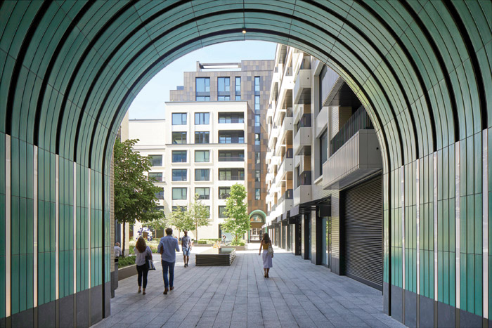 Entrance into Rathbone Square, a new development in Fitzrovia