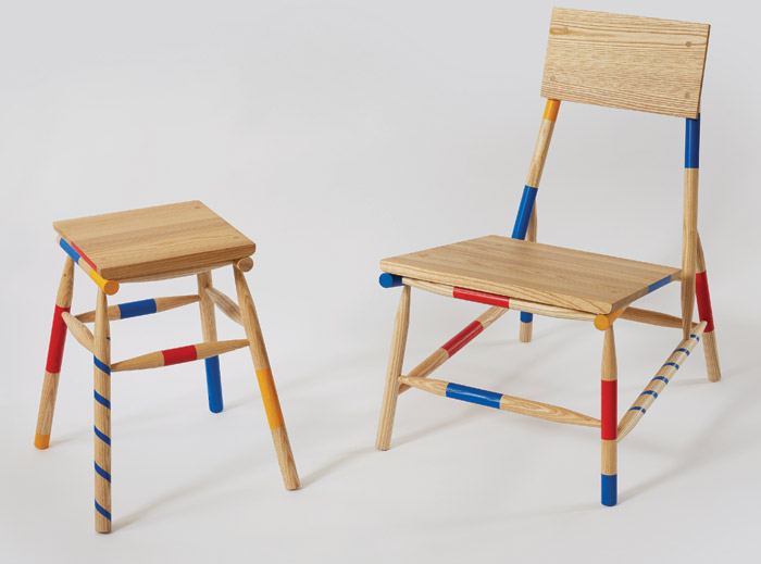 Mikadokun, Mikadochan The chair and the stool/table were exhibited at Kobayashi's first show at London Design Week 2017. These pieces are manufactured collaboratively by Kobayashi in East London and his brother in Japan.