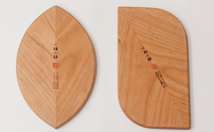 Sakura boards The series of hand-crafted multiuse chopping/serving boards were exhibited alongside the Mikadokun and Mikadochan furniture pieces (left) at last year's London Design Week.. Sakura boards: rio kobayashi