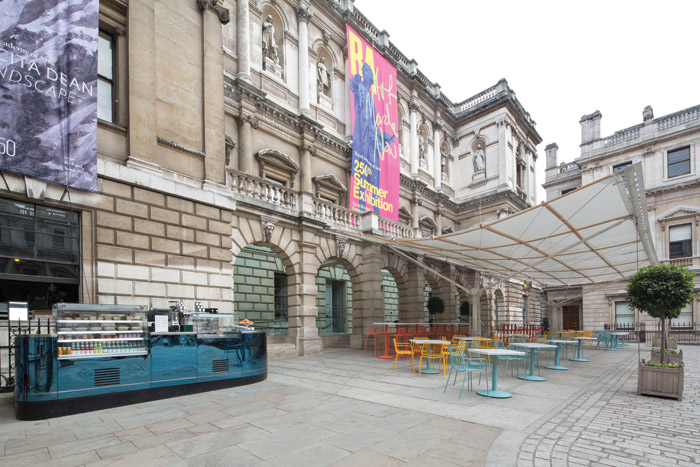 The cafe offer can spill outside into the courtyard when the weather conditions are agreeable