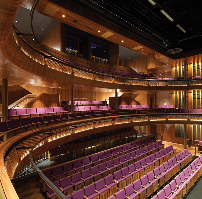A secondary auditorium, the new Linbury Theatre, is an intimate wood-filled space, with adaptable seating