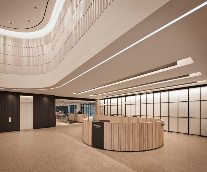 A lighting control system is used to balance natural daylight and allow for multiple scene settings