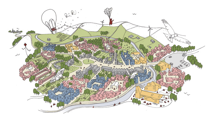 A visualisation by VeloCity of a concept village of small-scale development. Image Credit: Tibbalds Planning and Urban Design, Mikhail Riches, Featherstone Young, Marko and Placemakers, Expedition Engineering and Khaa