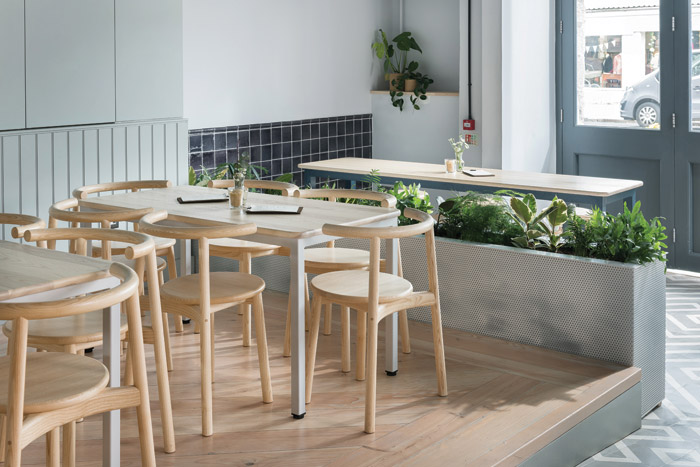 Furniture from MARK Product is used in the cafe