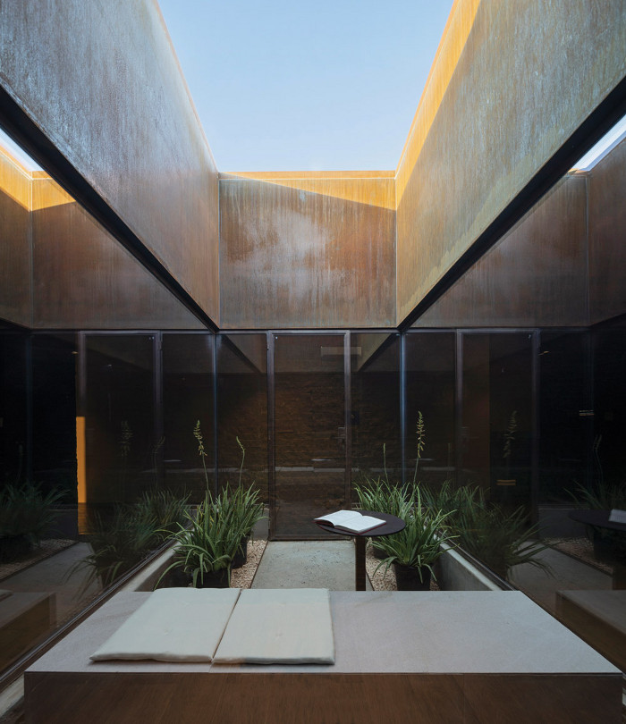 In the middle of the spa is a small open-air courtyard, a secluded place for a quiet read