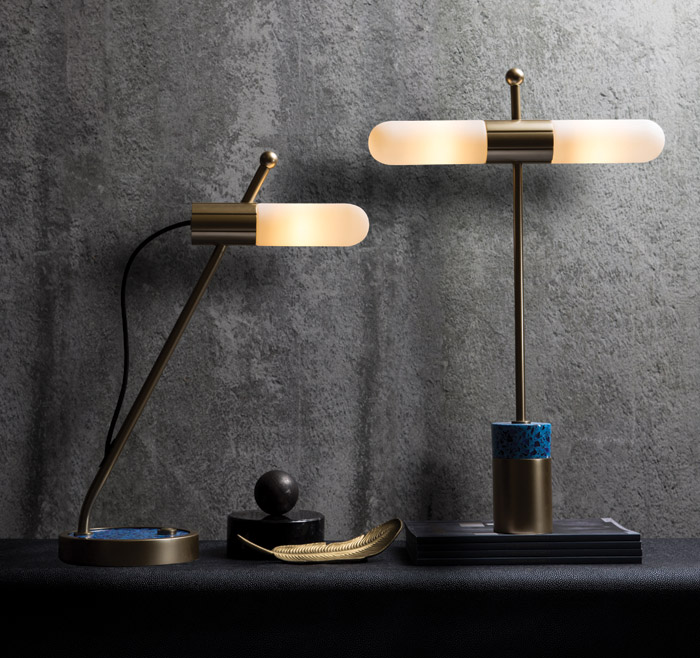 Azzero Lighting Collection: Symbolising the collaboration between Harris & Harris and Heathfield & Co, the collection features desk, table, wall and floor lights. The designs reference the refinement and luxury of the art deco age and the bold forms of 1960s pop design. The lamps feature cleverly detailed metalwork, white glass capsules with concealed LED light sources, and stunning terrazzo bases.