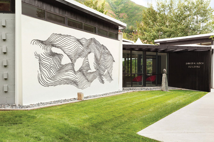The David H Koch building in Aspen was designed by Bayer and features his 'Sgraffito Mural'