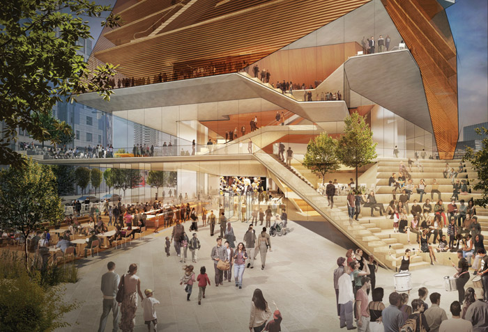 The proposed look for the entry plaza