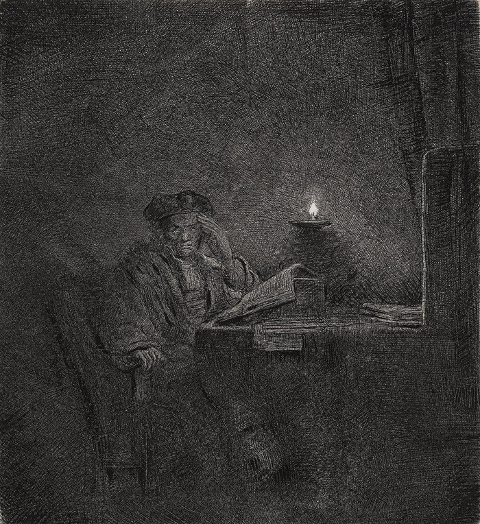 Although the Student at a Table by Candlelight print is almost entirely black, Rembrandt has modulated the tone of his etching so that the light appears to diffuse throughout the room, illuminating the outline of the student, his study materials and the furnishings. Image Credit: Rembrandt Van Rijn, Student At A Table By Candlelight, C1642. Etching, The Rembrandt House Museum, Amsterdam