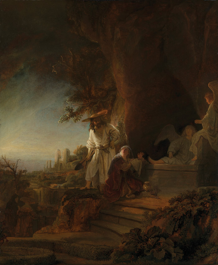 The exhibition lighting appears to augment the dawn light of Christ and St Mary Magdalen at the Tomb. Image Credit: Rembrandt Van Rijn, Christ and St Mary Magdalen At The Tomb, 1638 (Royal Collection Trust), © Her Majesty Queen Elizabeth II