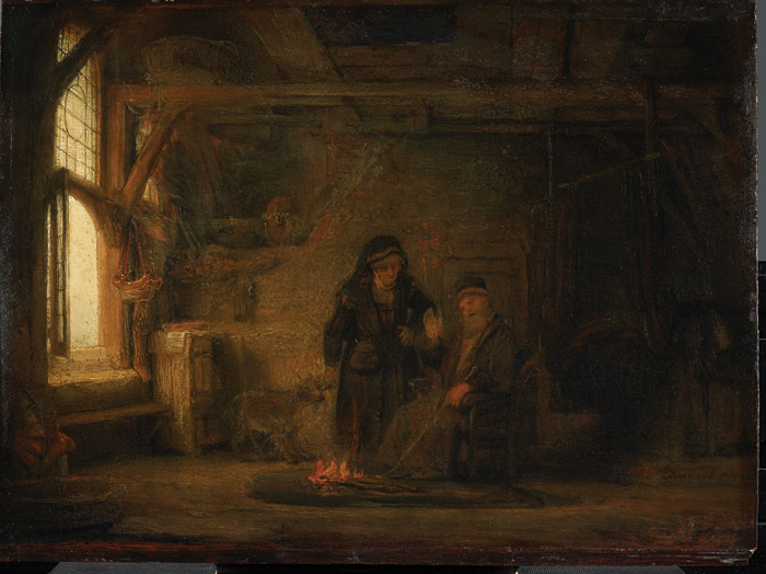 Tobit and Anna with the Kid probably began as a training exercise with the specific aim of teaching how light diffuses to illuminate a room, according to Helen Hillyard, assistant curator at Dulwich. 'Rembrandt challenged his pupil by providing two separate light sources: the open window to the left and the hearth on the floor,' says Hillyard. 'The initial sketch shows signs of being painted by the master himself, with the pupil making significant additions to demonstrate the spread of light'. Image Credit: Rembrandt Van Rijn, Tobit And Anna With The Kid, 1645, Inv Nr 805 © Staatliche Museen Zu Berlin, Gemäldegalerie, Photo: Christoph Schmidt