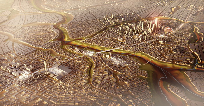 Looking along the expressway towards Egypt's new capital. Image credit: SOM.