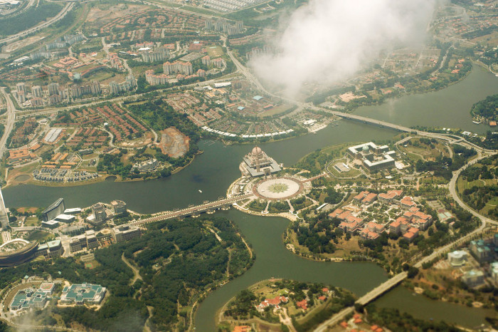 Seen from the air, the 'paperless city' that was to be at the end of a 'multimedia corridor' complete with an 'intellectual property park', Putrajaya was once set to be the new capital of Malaysia