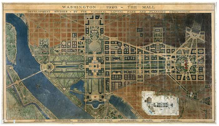 The Report of the Senate Park Commission in 1902, generally referred to as the McMillan Plan, was a comprehensive plan for the development of the monumental core of Washington, which included proposals for the construction of major memorials, a series of neoclassical cultural buildings and offices, together with an extensive system of parkland. Its status as the official development plan for the District of Columbia was reinforced with the establishment of the National Capital Park and Planning Commission in 1926, which was formally charged with its implementation. Its updated plan of 1928 is shown here
