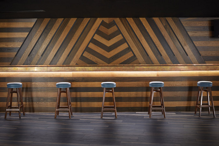 The bar mixes a retro feel with contemporary design
