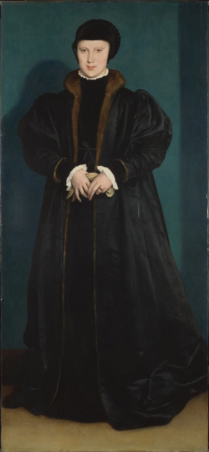 Hans Holbein The Younger Christina of Denmark, Duchess of Milan The National Gallery, 1538 Oil on oak 179.1 x 82.6 cm Presented by the Art Fund with the aid of an anonymous donation, 1909, © The National Gallery, London