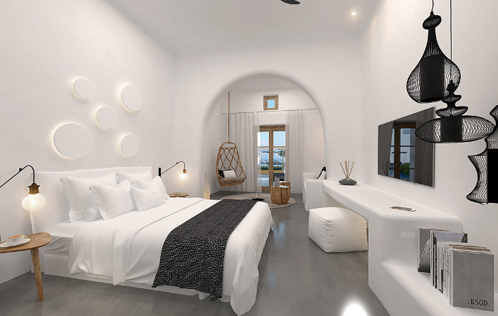 OMMA, a brand new 30-room hotel on Santorini, has 360-degree views over the Aegean Sea and the Caldera, and a minimal, Cycladic-inspired design that's intended to promote calm. The curved edges, natural materials and textural finishes are intended to create a restful environment that appeals to the senses