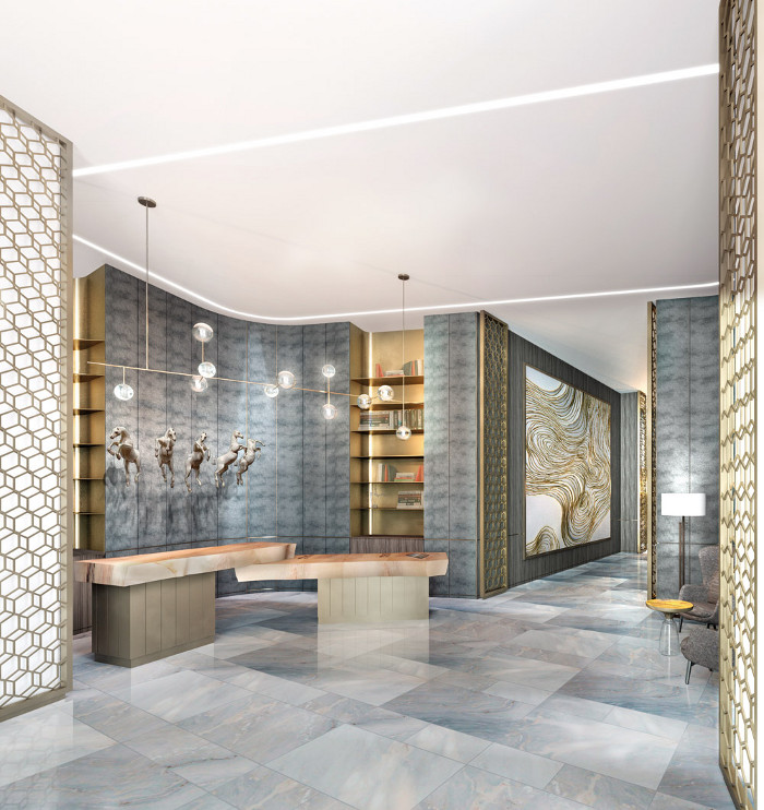 The reception area at the brand new 346-bedroom JW Marriott hotel in Edmonton's Ice District has wooden fins that begin the process of cocooning the guests and leading them from public to private spaces, giving a sense of security and safety