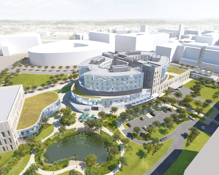 Fleetwood noted that just as the pond draws in those in need of time and space, the hospital is a focal point of the Cambridge Biomedical Campus