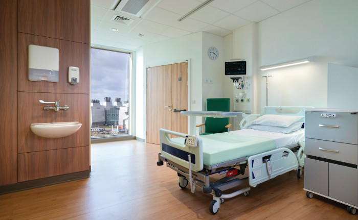 Most rooms are singles and are laid out identically to reduce mistakes made by locum staff who will not be familiar with the hospital. Image credit: CHRIS ANSELL.