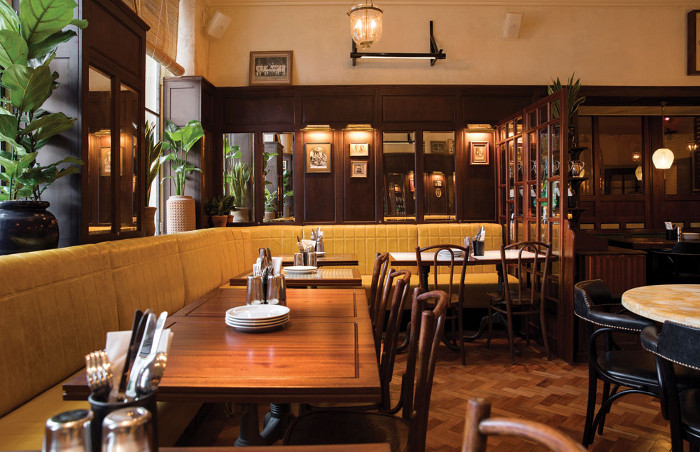 The project's colour scheme was inspired by the well-known cafe Britannia & Co, located in Mumbai's Ballard Estate area