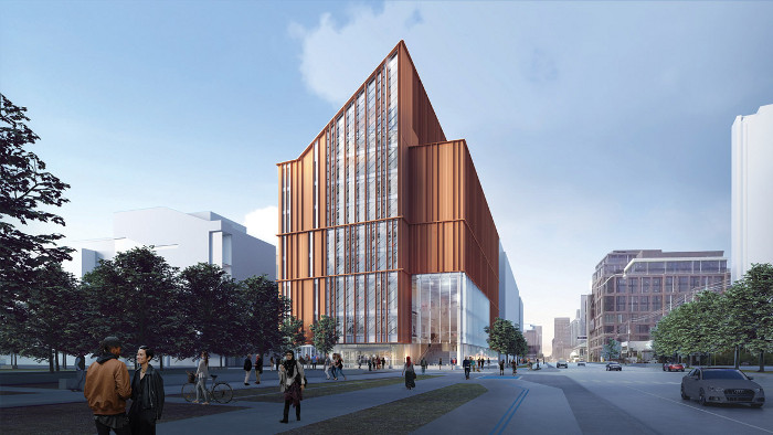 The Arbour at George Brown College in Toronto, begins construction in 2021. The 10-storey, 16,250 sq m facility will be noteworthy for its large-span mass wood structure, but will also have a steel core, Architect: Acton Ostry