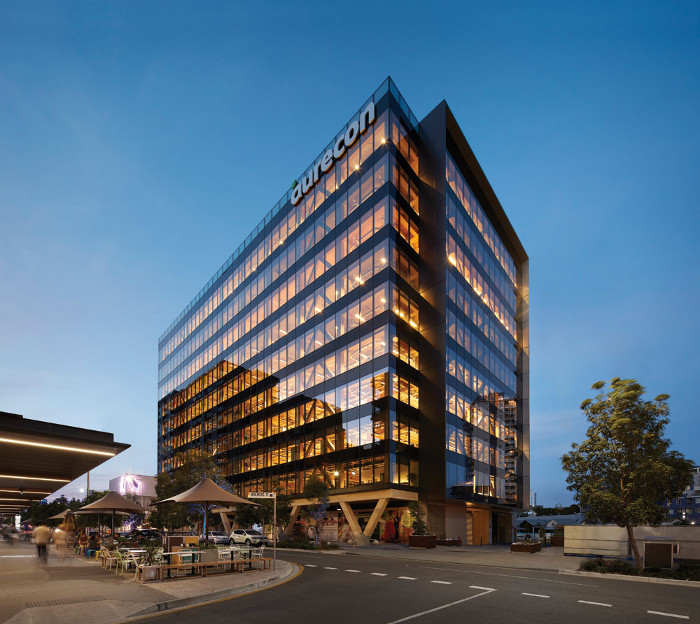 25 King is a 10-storey, 45m all-timber commercial tower in Brisbane, with a verandah-style south façade referencing the wooden vernacular of Queensland. Completed in 2018, it's the tallest engineered wood building in Australia. It was awarded a Commendation in the Queensland Regional Architecture Awards 2019. Architect: Bates Smart. Client: Lendlease. Engineers: Aurecon. Structural engineer (Timber): Design Make