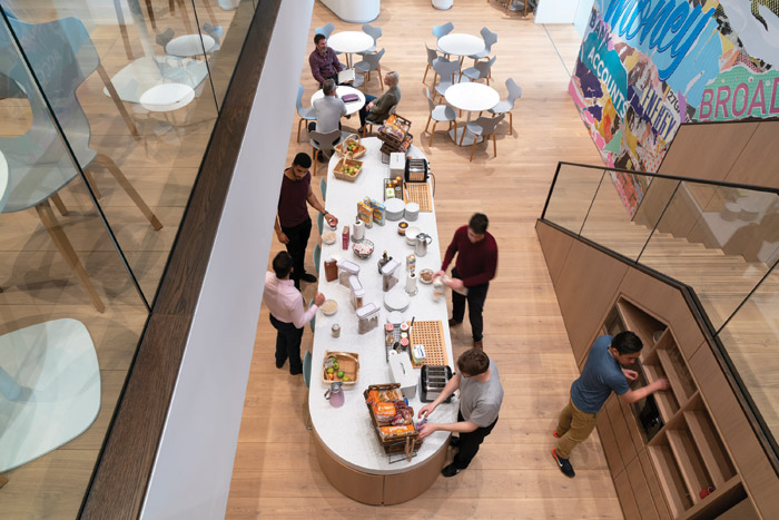 Like the artwork, large, communal tea areas are located centrally. Credit: Jefferson Smith