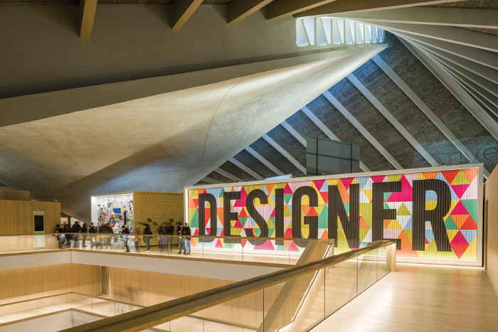One of the best-known projects is a much-photographed wall in London's new Design Museum. Image credit: Gareth Gardner.