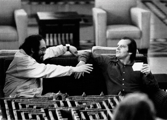 Kubrick with the actor Jack Nicholson on the set of The Shining