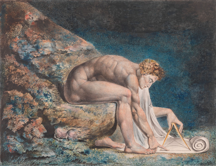 Image credit: William Blake (1757-1827) / Newton 1795-C. 1805 / Colour Print, Ink and Watercolour on Paper / Tate
