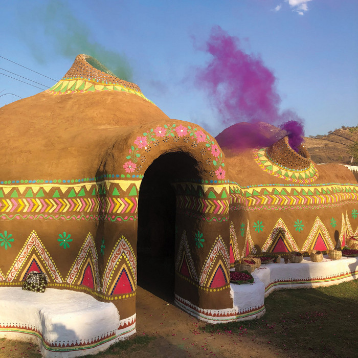 This structure, made in India for the Holi festival, was designed using CAD/ CAM but built employing local, traditional techniques. Image credit: Eva Fontelli.