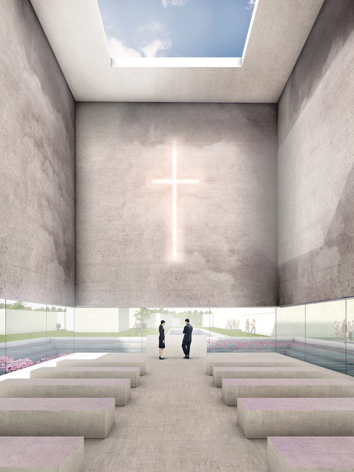 The £30m columbarium planned for Milton Keynes aims to solve the problem 'how shall we remember our loved ones after cremation' by providing 100,000 niches to house cinerary urns, as well as both large and small spaces for funerals and acts of remembrance. The design, which takes visitors across a reflective pool to help the transition from the everyday world to the monumental space, includes flowing water for the scattering of ashes and a space that can be transformed digitally to represent a buildings such as a chapel, mosque, or synagogue, or to display family photographs. Architect: Baca Architects. Client: a private consortium